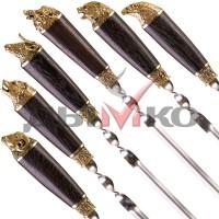 Комплекты по 6 шампуров с деревянной ручкой и литьем