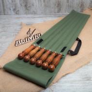 Набор в зеленом чехле с деревянной ручкой (6 шампуров) 500*12*3