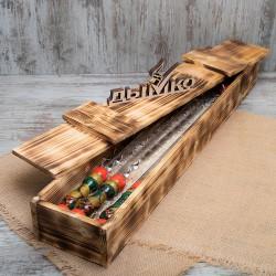 """Набор шампуров """"Хохлома"""" 400*12*3 в деревянном футляре"""