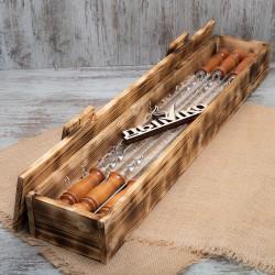 """Набор шампуров """"Енисей"""" в деревянной коробке  с деревянной ручкой 500*12*3"""
