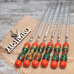 """Шампуры с деревянной  ручкой """"Хохлома"""" 400*12*3"""