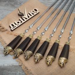"""Шампуры с деревянной объемной ручкой и литьем """"Медведь"""""""