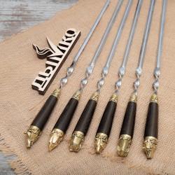 """Шампуры с деревянной стандартной ручкой и литьем """"Пикник 1"""""""